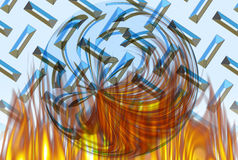 Burning Chrome Ball. Digital Image created in Photoshop using special effects Stock Images