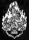 Burning Church flash tattoo dot work art. Burning Church flash tattoo dotwork art. Religious chapel fire arson concept. Metaphor for unholy rage, denial of God Stock Photos
