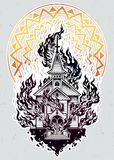 Burning Church flash tattoo dot work art. Stock Photo