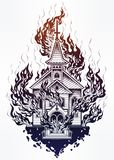 Burning Church flash tattoo dot work art. Stock Image