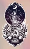 Burning Church with moon flash tattoo dot work art Royalty Free Stock Photos