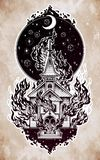 Burning Church with moon flash tattoo dot work art Stock Image