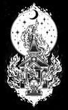 Burning Church with moon flash tattoo dot work art. Burning Church flash tattoo dotwork art. Religious chapel fire arson over moon sky. Metaphor for unholy Stock Photo