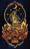 Burning Church with moon flash tattoo dot work art. Burning Church flash tattoo dotwork art. Religious chapel fire arson over moon sky. Metaphor for unholy Royalty Free Stock Images