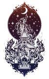 Burning Church with moon flash tattoo dot work art. Burning Church flash tattoo dotwork art. Religious chapel fire arson over moon sky. Metaphor for unholy Royalty Free Stock Photo