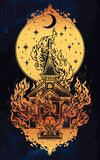 Burning Church with moon flash tattoo dot work art. Burning Church flash tattoo dotwork art. Religious chapel fire arson over moon sky. Metaphor for unholy Stock Photography