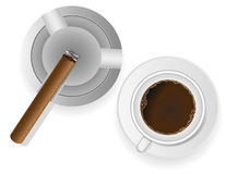 Burning cigar in an ashtray and coffee vector illu Royalty Free Stock Images