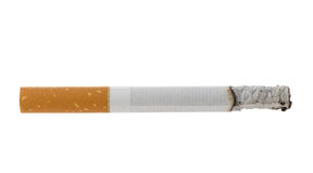 Burning cigarette with ashes. Isolated on white Stock Photos