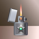 Burning cigarette lighter. Vector Royalty Free Stock Photo