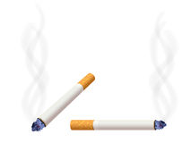 Burning cigarette. Realistic burning cigarette and smoke vector illustration