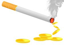 Burning cigarette. Vector illustration of burning cigarette with coins suggesting the waste of money royalty free illustration