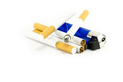 Burning cigarettes and a lighter. Isolated on a white background Stock Photos