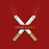 Burning cigarettes for No Smoking Day concept. Royalty Free Stock Images