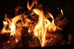 Burning cinders Royalty Free Stock Photo