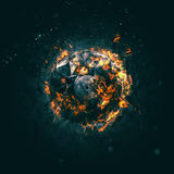 Burning Circle - Carbon - Isolated on a dark background Royalty Free Stock Images
