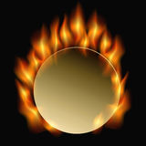 Burning circle. Circle in flames on a black background. vector illustration Stock Images