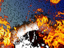 Burning circuit board. Abstract technology background of burning printed circuit board Royalty Free Stock Photo