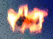 Burning circuit board. Abstract technology background of burning printed circuit board Stock Image
