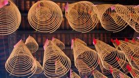 Burning Circular Incenses in Temple in Vietnam Royalty Free Stock Photos