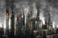 Burning city illustration Stock Image