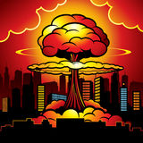 Burning city with nuclear explosion of atomic bomb. Cartoon vector illustration vector illustration