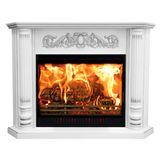 Burning classic fireplace of white marble. Isolated on white.  royalty free stock photography