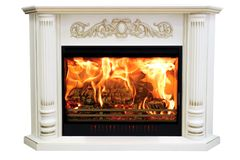Burning classic fireplace of white marble. Isolated on white.  stock photos