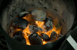 Burning Coal. Hot burning and  glowing coal Stock Photos