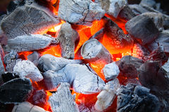 Burning coal. Fire place and ash. smoke warm Royalty Free Stock Images