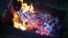 Burning coal stock video footage
