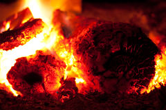 Burning coal in the furnace Stock Image