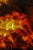Burning coal in the furnace Stock Photography