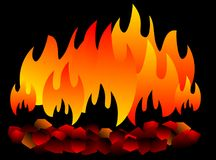Burning coal isolated. hot Coal on black background. Vector eps 10 vector illustration