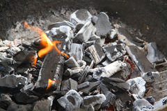 Burning coal and wood Royalty Free Stock Photos