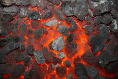 Burning coals Royalty Free Stock Photo