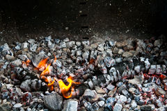 Burning coals in the ash Royalty Free Stock Images