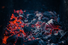 Burning coals at barbeque campfire. Burning coals at night ,Decaying charcoal, barbeque season Royalty Free Stock Image