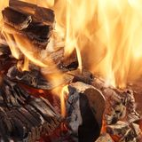 Burning Coals close-up Stock Photos