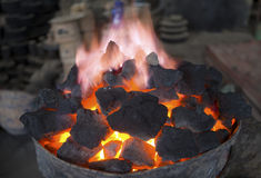 Burning Coals Stock Photos