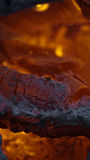 Burning coals in a fire Royalty Free Stock Image