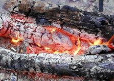 Burning coals in the fireplace, Christmas background stock photography