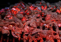 Burning coals on Grill. Detail shot of burning coals and embers on grill Royalty Free Stock Photo