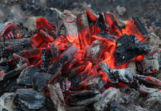 Burning coals after grilling. In fireplace burning coals after grilling Royalty Free Stock Image
