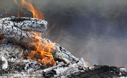 Burning coals with a white ash and red flames Royalty Free Stock Photos