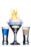 Burning cocktail. Burning alcoholic cocktail isolated on white Royalty Free Stock Image