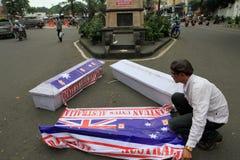 Burning coffins Stock Photos