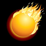 Burning Comet on Dark Background. Vector Royalty Free Stock Photos