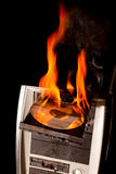 Burning computer Royalty Free Stock Photo