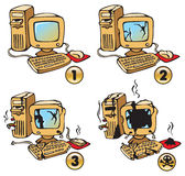Burning Computer. Set of four phases of computer's burning, cartoon, vector illustration Royalty Free Stock Images
