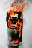 Burning computer case Royalty Free Stock Images
